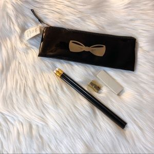 NEW Black Gold Bow Pencil Case Gift Set